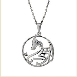 Sterling silver Chinese year of the horse diamond pendant - Product number 1929941
