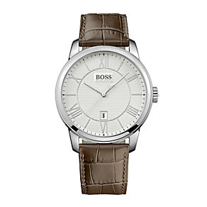 Hugo Boss men's silver dial brown leather strap watch - Product number 1929968