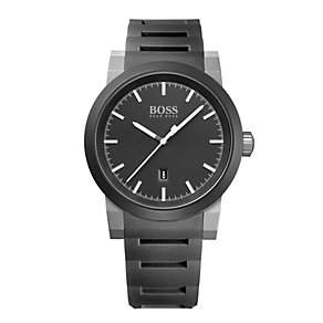 Hugo Boss men's black dial black rubber bracelet watch - Product number 1930265