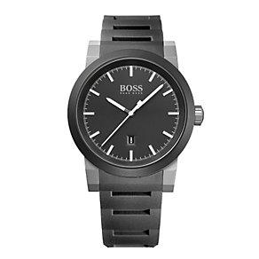 Hugo Boss men's black dial black rubber bracelet watch - Product number 1930265