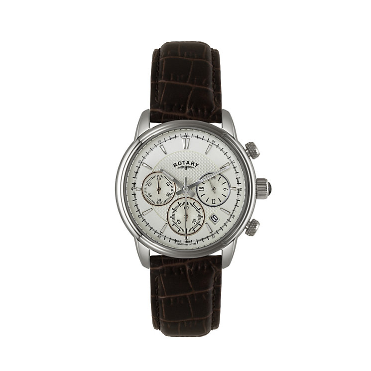 Rotary men's chronograph brown leather strap watch - Product number 1933094