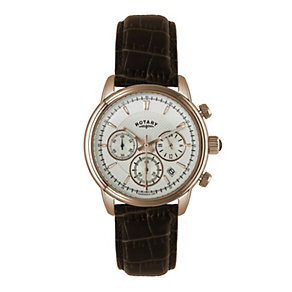 Rotary men's chronograph brown leather strap watch - Product number 1933159