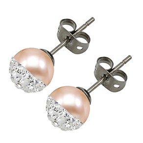 Tresor Paris titanium pearl & crystal set stud earrings - Product number 1933493