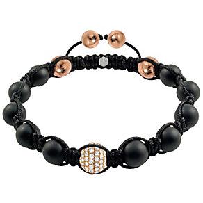 Tresor Paris 18ct rose gold-plated agate & crystal bracelet - Product number 1934422