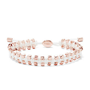 Fossil rose gold-plated white leather bracelet - Product number 1937162