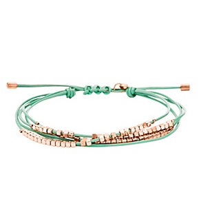 Fossil rose gold-plated & mint leather bracelet - Product number 1937227