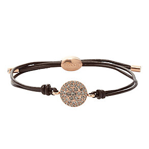 Fossil ladies' rose gold-plated stone set leather bracelet - Product number 1937383