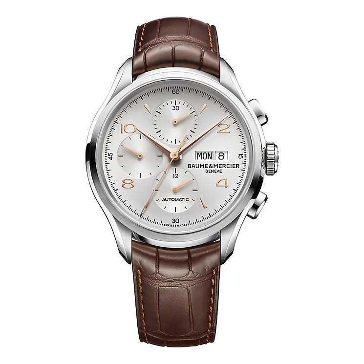 Baume & Mercier Clifton men's brown leather strap watch - Product number 1938290