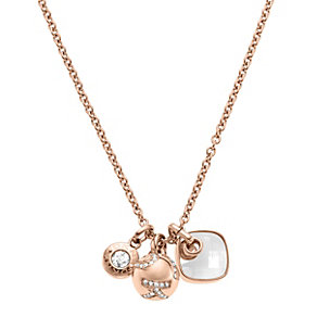 DKNY Rose Gold-Plated Triple Charm Necklace - Product number 1938355