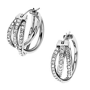DKNY Stainless Steel Crystal Set Woven Hoop Earrings - Product number 1938371