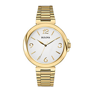 Bulova Ladies' White Dial Gold-Plated Bracelet Watch - Product number 1940333