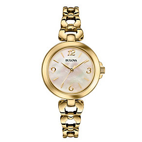 Bulova Ladies' Gold-Plated Linked Bracelet Watch - Product number 1940368