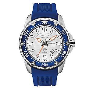 Bulova Marine Star Men's Blue Rubber Strap Watch - Product number 1940406