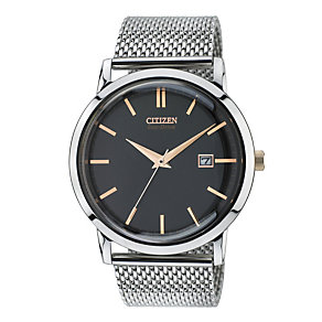 Citizen Eco-Drive Men's Stainless Steel Mesh Bracelet Watch - Product number 1942115