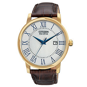 Citizen Eco-Drive Men's Brown Leather Strap Watch - Product number 1942158