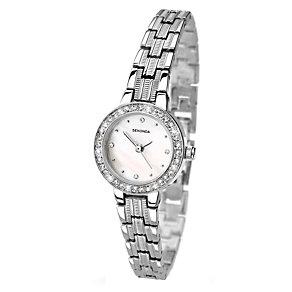 Sekonda Ladies' Stone Set Chrome Coloured Bracelet Watch - Product number 1945920