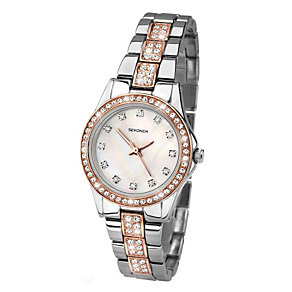 Sekonda Ladies' Rose And Chrome Two Tone Stone Set Watch - Product number 1945963