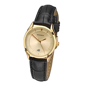 Sekonda Ladies' Gold Plated Watch With Leather Strap - Product number 1946005