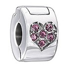 Chamilia heart lock with pink Swarovski elements - Product number 1946765