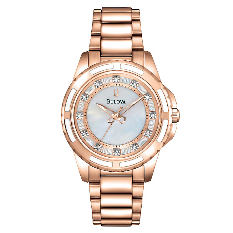 Bulova Ladies' Diamond Dial Rose Gold-Plated Bracelet Watch - Product number 1954636