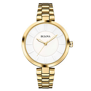 Bulova Ladies' White Ceramic Dial Gold-Plated Bracelet Watch - Product number 1954768