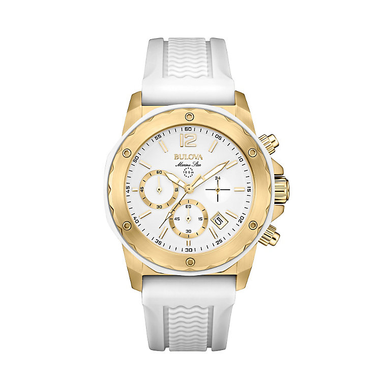 Bulova Marine Star Ladies' White Rubber Strap Watch - Product number 1954806