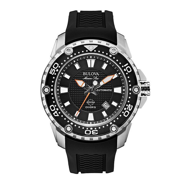 Bulova Marine Star Men's Black Rubber Strap Watch - Product number 1954830