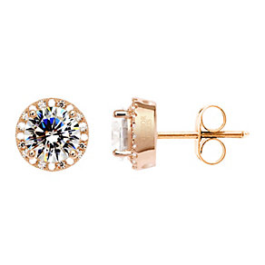 Tresor Paris 18ct rose gold-plated cubic zirconia earrings - Product number 1955799