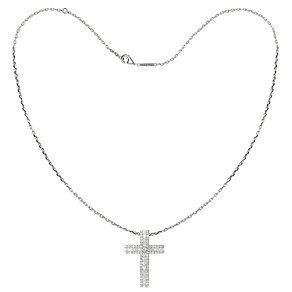 Tresor Paris 18ct white gold-plated crystal cross pendant - Product number 1955934