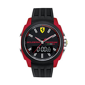 Ferrari men's dual display black rubber strap watch - Product number 1956035