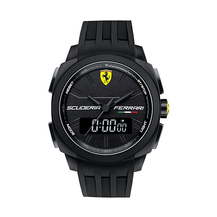 Ferrari men's dual display black rubber strap watch - Product number 1956043