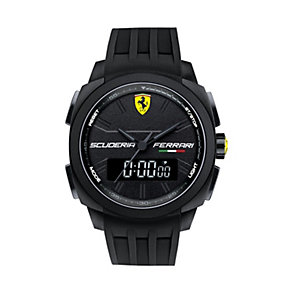 Ferrari men's dual display black rubber strap watch - Product number 1956043