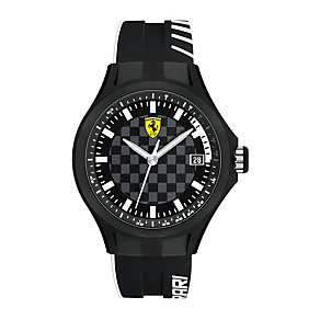 Ferrari men's chequered dial black rubber strap watch - Product number 1956051