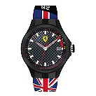 Ferrari men's chequered dial Union Jack rubber strap watch - Product number 1956086