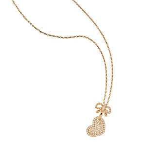 Tresor Paris 18ct rose gold-plated heart & bow pendant - Product number 1956205