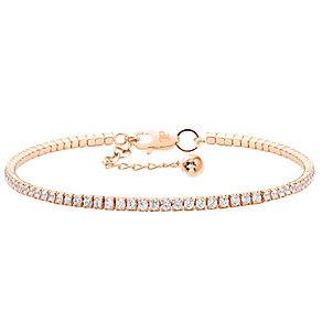 Tresor Paris 18ct rose gold-plated crystal tennis bracelet - Product number 1956248