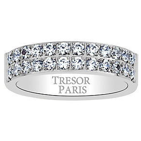 Tresor Paris 18ct white gold-plated crystal 5mm ring size N - Product number 1956523