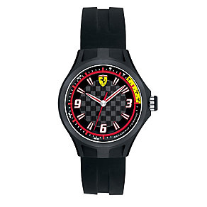 Ferrari men's chequered dial black rubber strap watch - Product number 1956531
