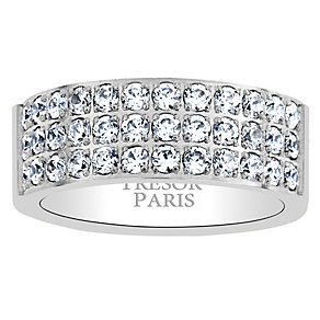 Tresor Paris 18ct white gold-plated crystal 8mm ring size P - Product number 1956639