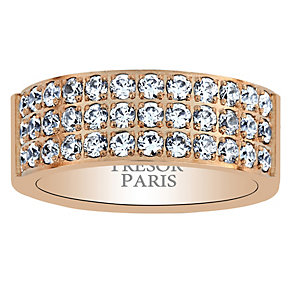 Tresor Paris 18ct rose gold-plated crystal 8mm ring size L - Product number 1956647
