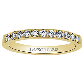 Tresor Paris 18ct gold-plated crystal 2.5mm ring size N - Product number 1956701