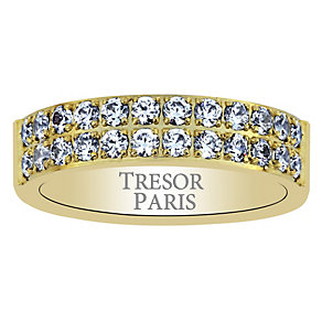 Tresor Paris 18ct gold-plated crystal 5mm ring size L - Product number 1956728