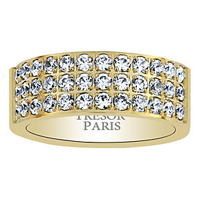 Tresor Paris 18ct gold-plated crystal set 8mm ring size P - Product number 1956744