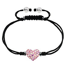 Tresor Paris pink crystal 8mm heart black cord bracelet - Product number 1956752