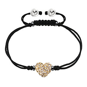 Tresor Paris gold crystal 8mm heart black cord bracelet - Product number 1956795