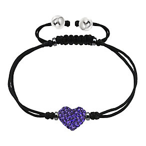 Tresor Paris purple crystal 8mm heart black cord bracelet - Product number 1956809