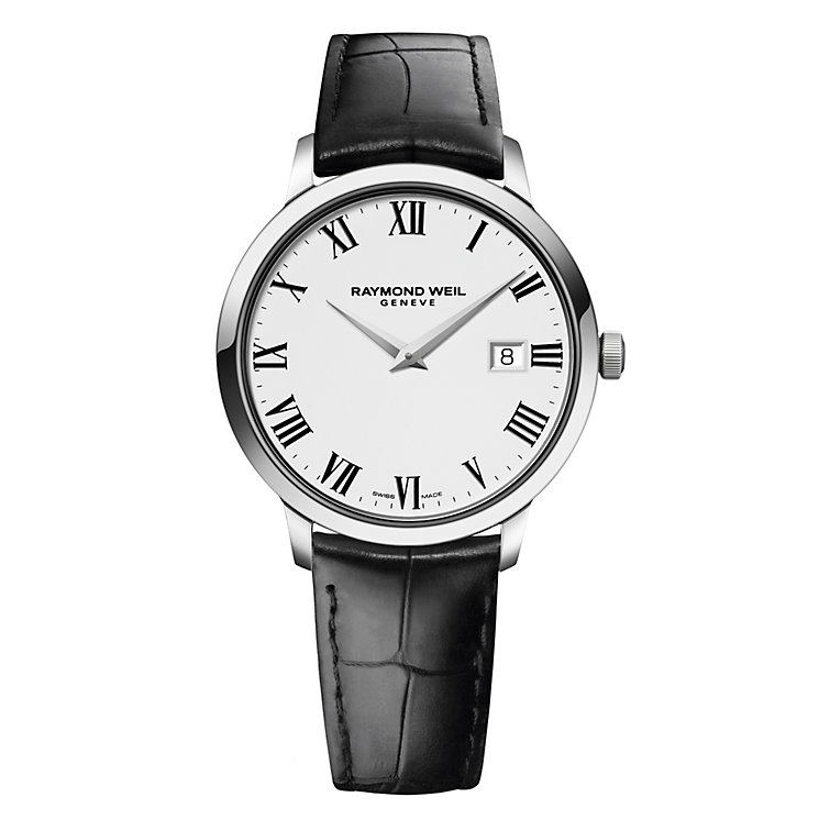 Raymond Weil Geneve men's black leather strap watch - Product number 1957724