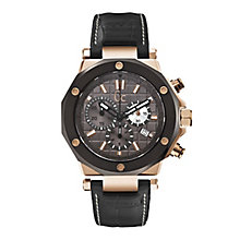 Gc men's rose gold-plated black leather strap watch - Product number 1957880