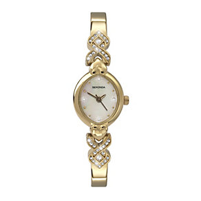 Sekonda Ladies' Stone Set Gold-Plated Bangle Watch - Product number 1961306