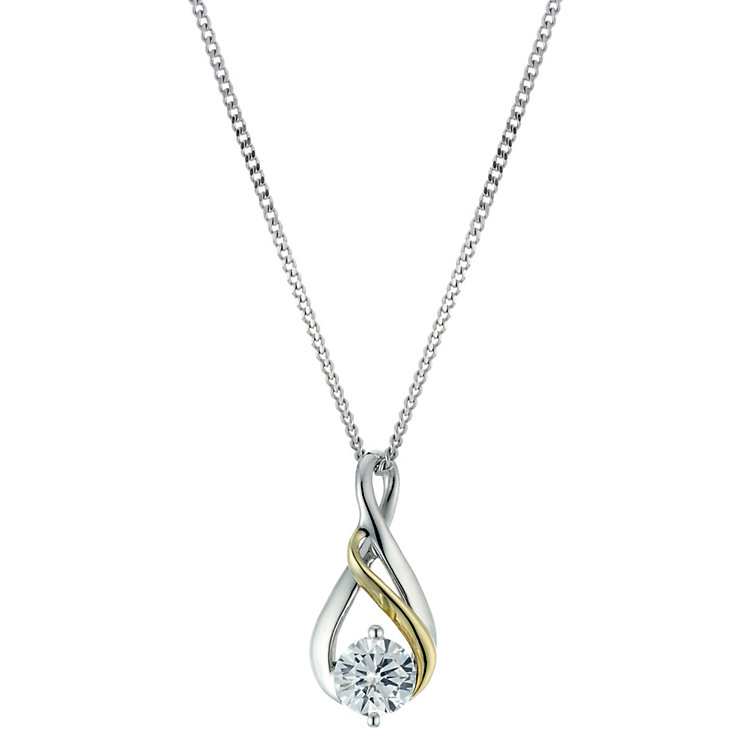 "Sterling Silver & 9ct Gold Twist Cubic Zirconia 18"" Pendant - Product number 1961373"